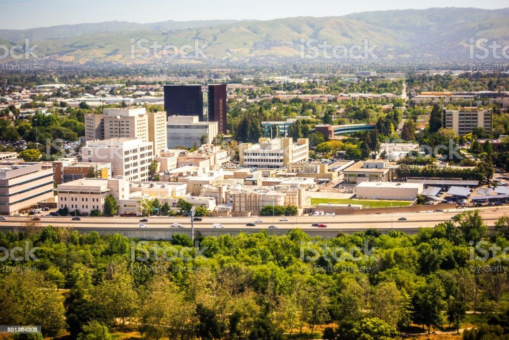 flying over san jose california stock photo