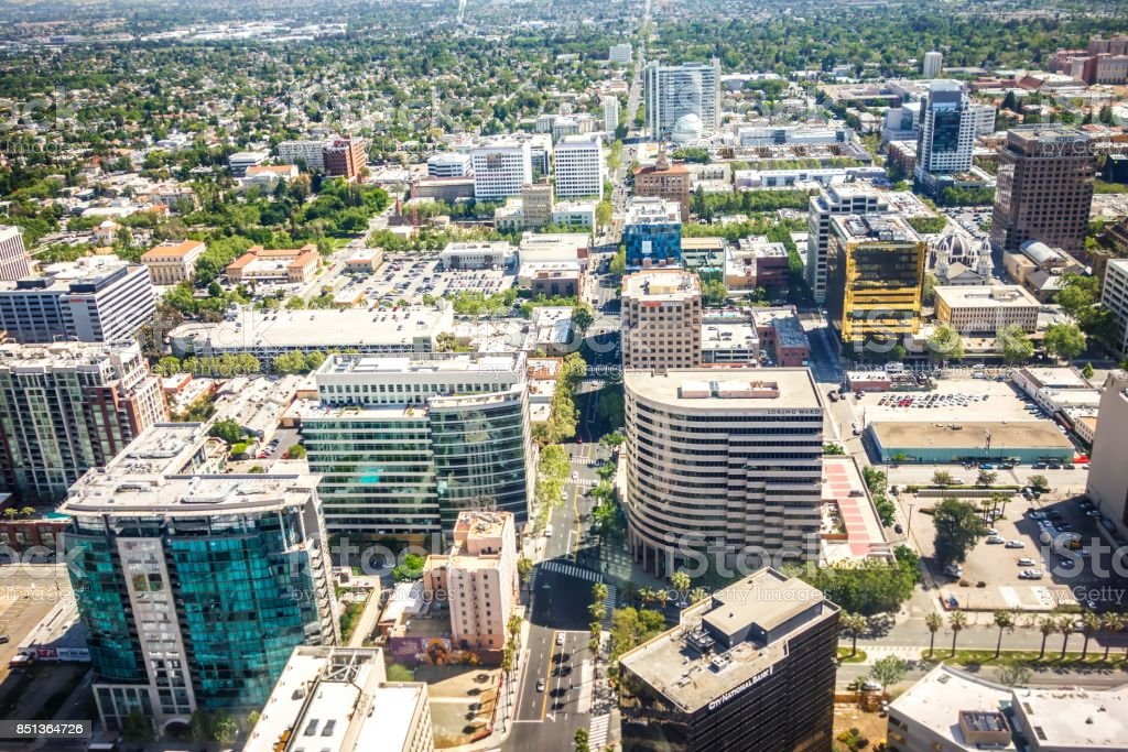flying over san jose california stock photo