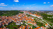 Flying Over The City Of Prague feat. Historic Old Gothic Buildings In Czechia Czech Republic