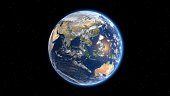 Flying over the earth's surface, 3D rendering. Elements Of This Video Furnished By Nasa.