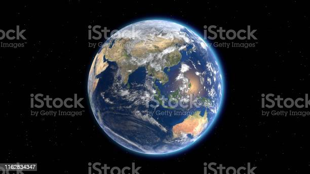 Photo of Flying over the earth's surface, Eurasia and Australia. 3D rendering.