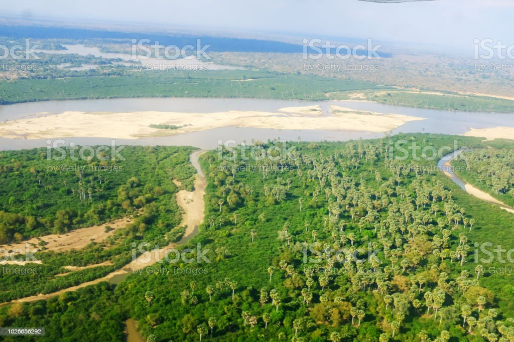 Flying over the Selous Game Reserve in Tanzania stock photo