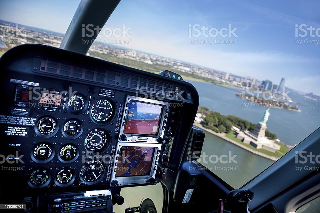 Flying over the Statue of Liberty in New York royalty-free stock photo