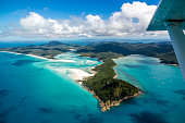 Flying over the Whitsunday Islands