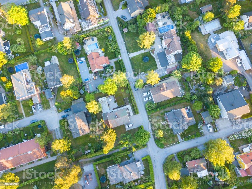 Flying over villa area stock photo