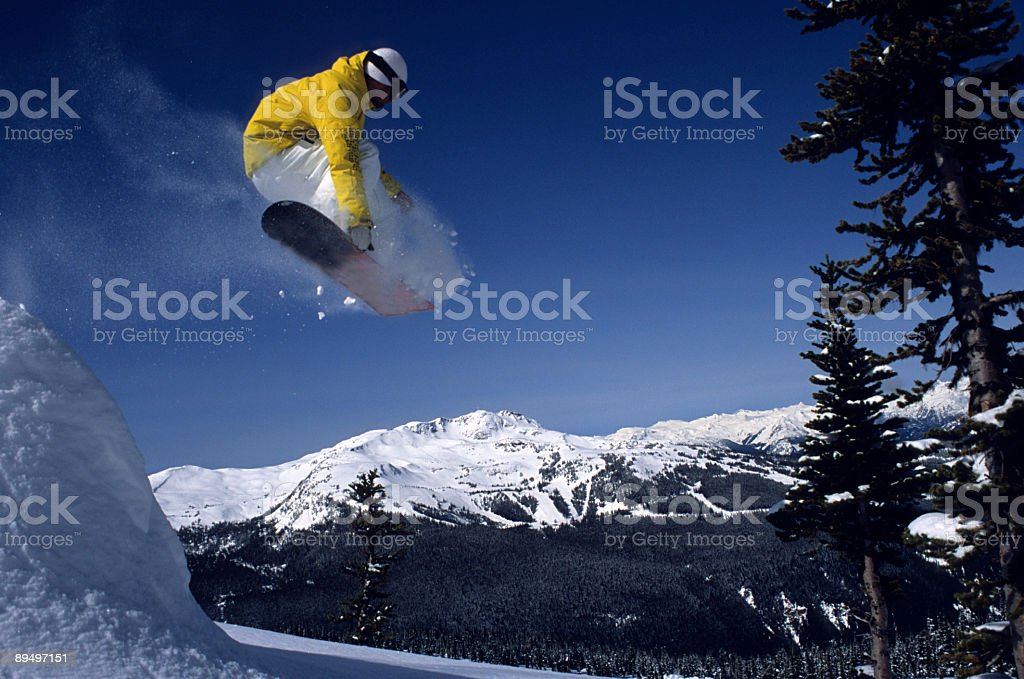 Flying over Whistler stock photo