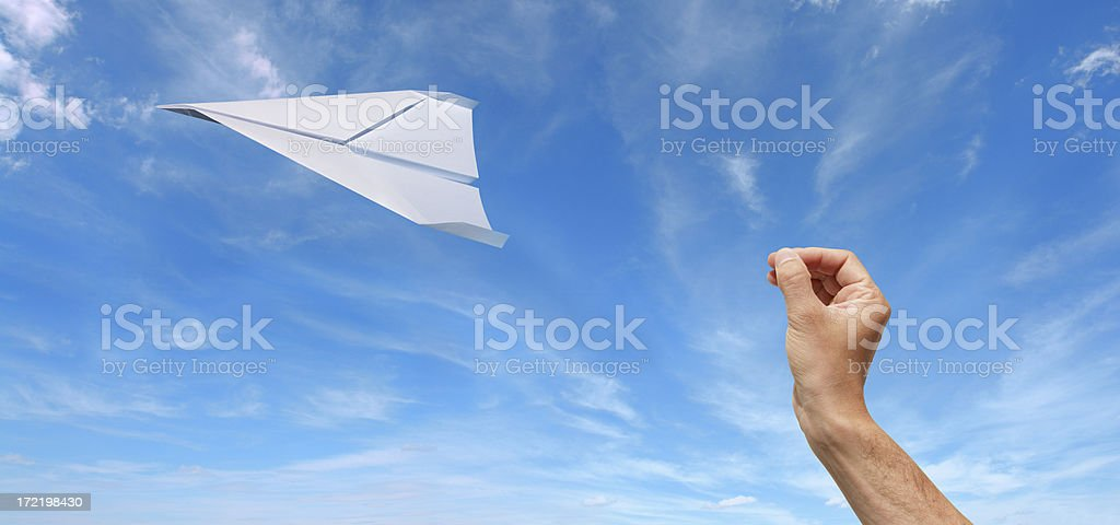 Flying Paper Plane royalty-free stock photo