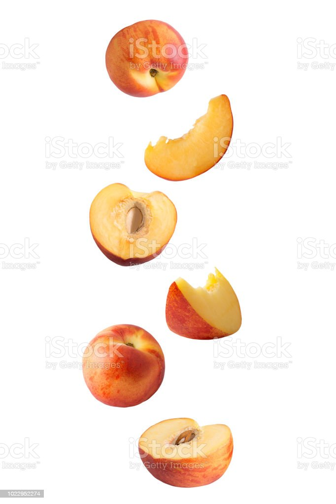 Flying peach isolated on white - foto stock
