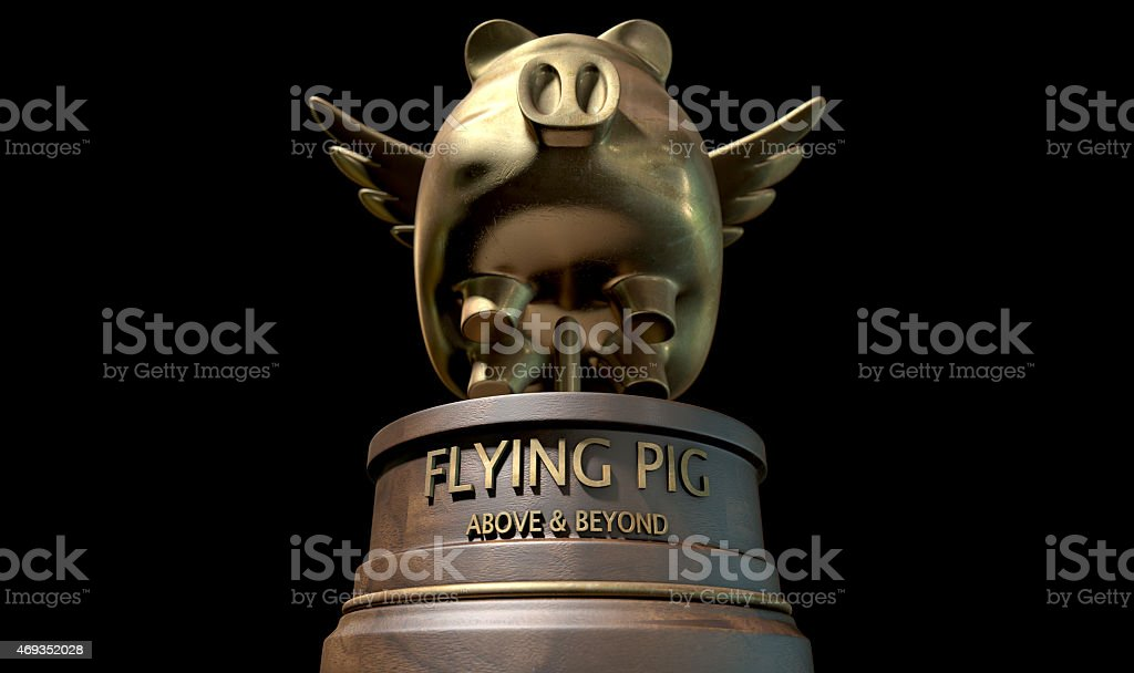 Flying Pig Trophy Award stock photo