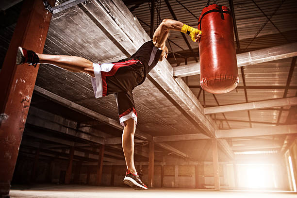Flying punch stock photo