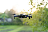 Flying quadrocopter, remote controlled drone with camera