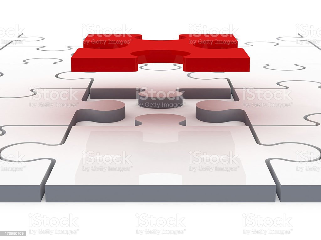 Flying Red Puzzle Piece royalty-free stock photo
