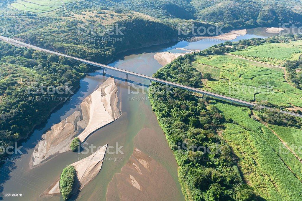 Flying River Bridge Landscape stock photo