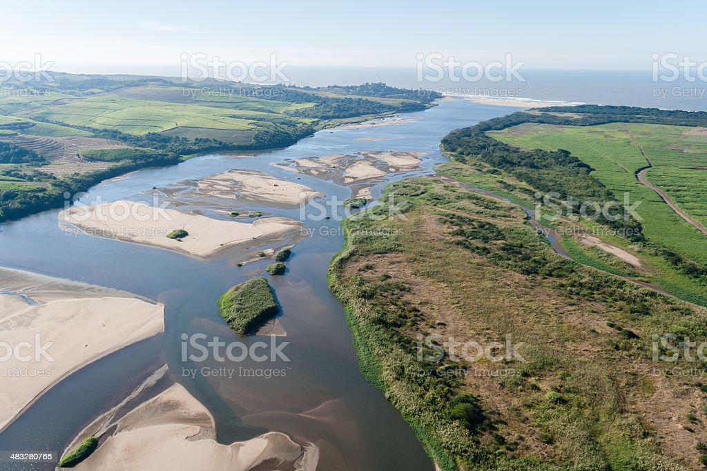 Flying River Mouth Ocean Landscape stock photo