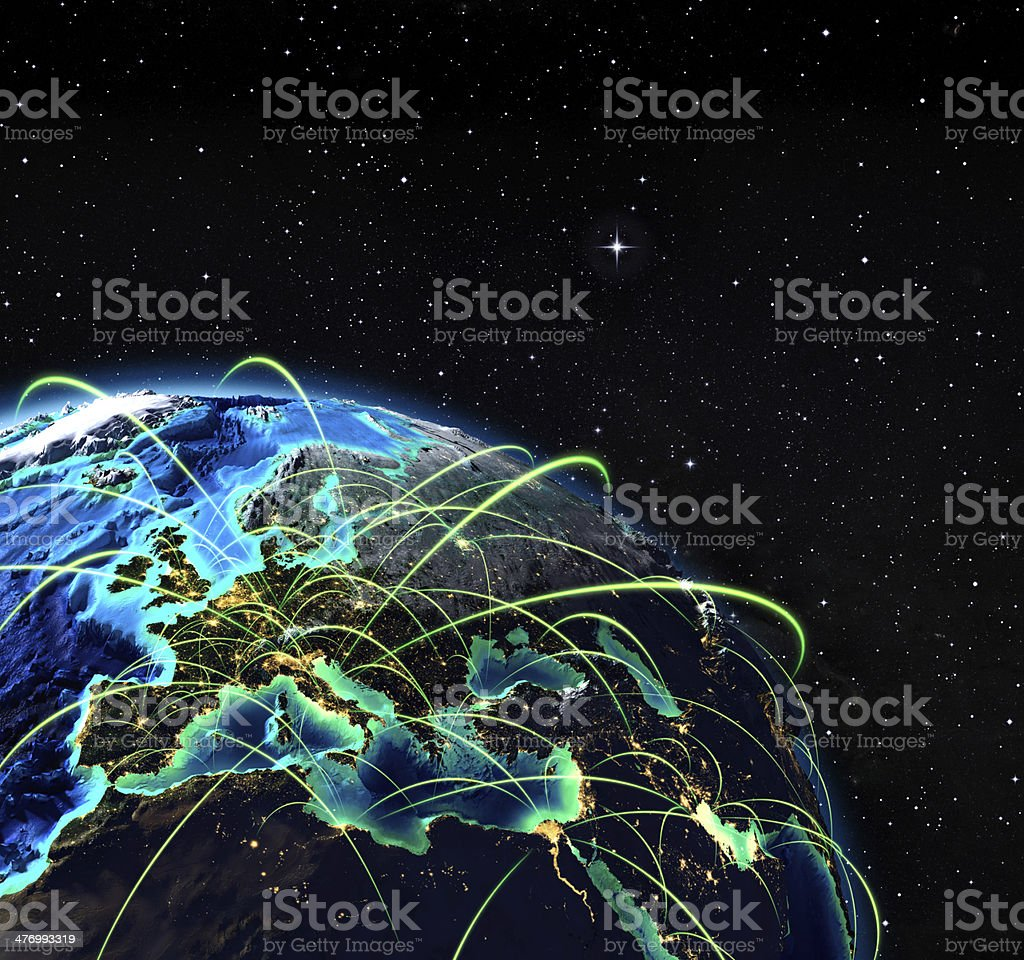 flying routes in Europe stock photo