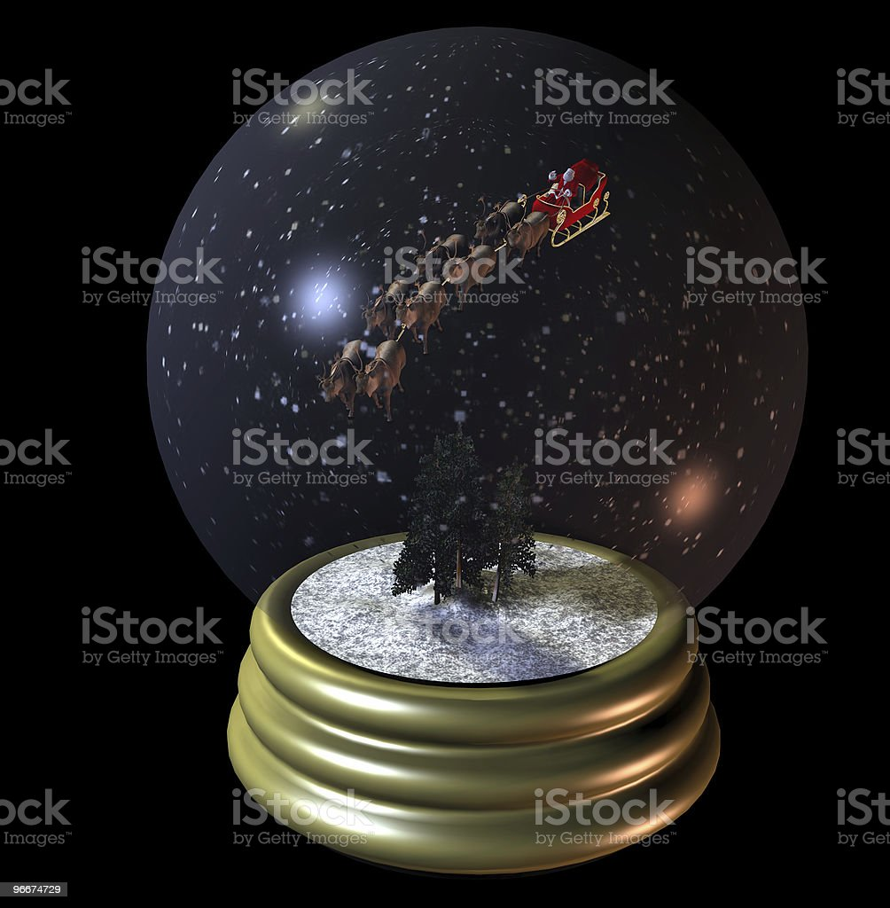 Flying Santa Snow Globe stock photo