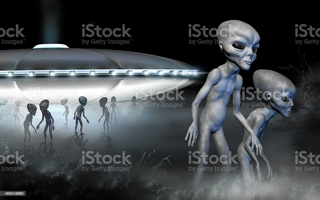 Flying saucer and two grey realistic alien. stock photo