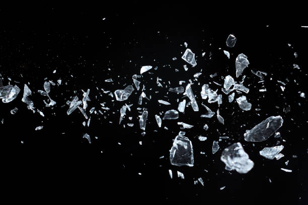 Flying sharp crystals fragments stock photo