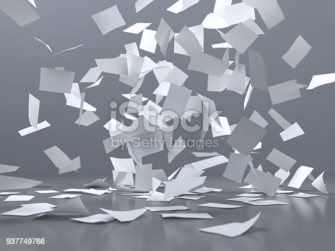 istock flying sheets of white paper 937749766