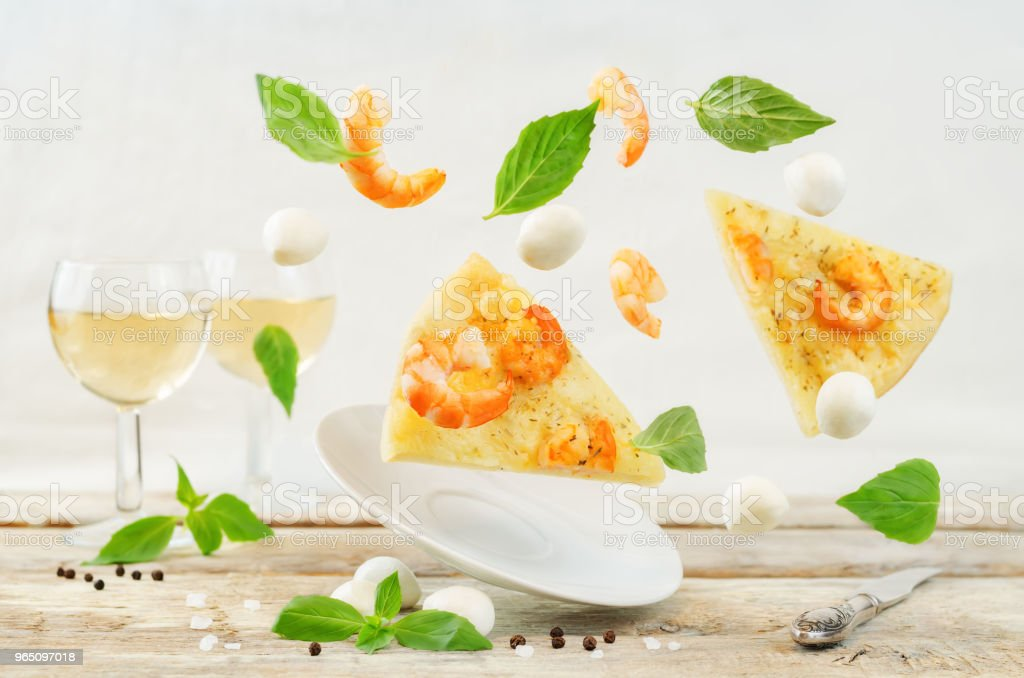 Flying Shrimp garlic cheesy pizza royalty-free stock photo