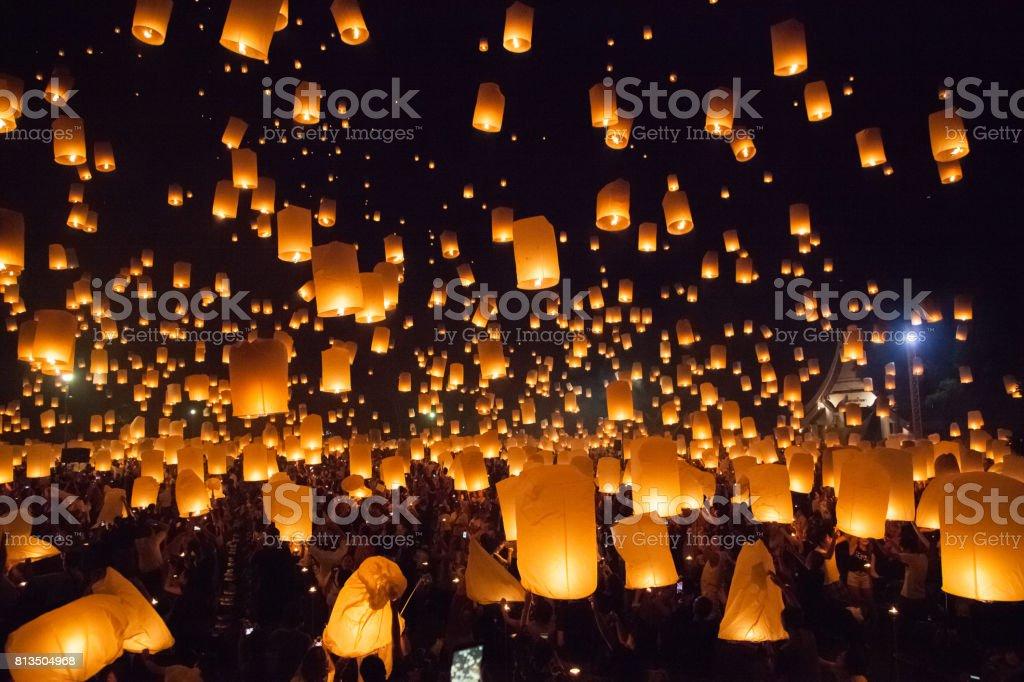 Flying sky lantern at Loy Krathong in Thailand stock photo