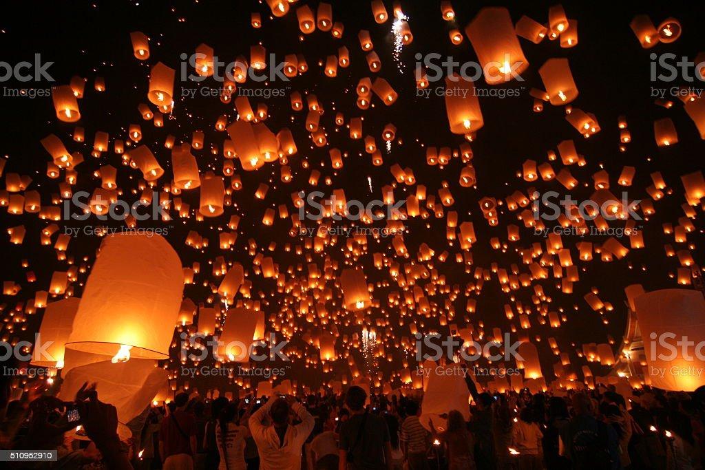 Flying Sky Lantern on Yeepeng festival stock photo