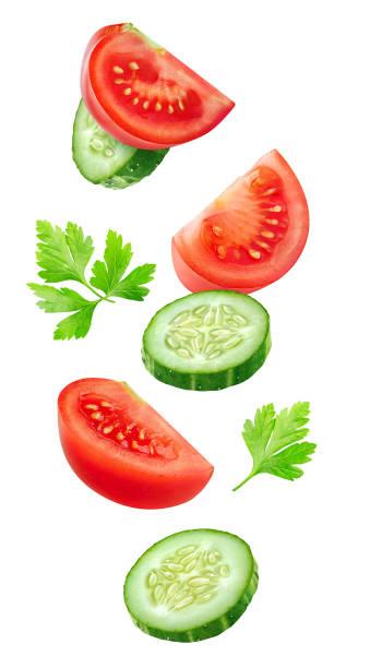 fliegende scheiben tomate und gurke - 25 cent stück stock-fotos und bilder