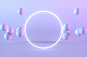 3D rendering of Flying Spheres with Empty Neon Frame on Color Gradient Background. Futuristic concept.
