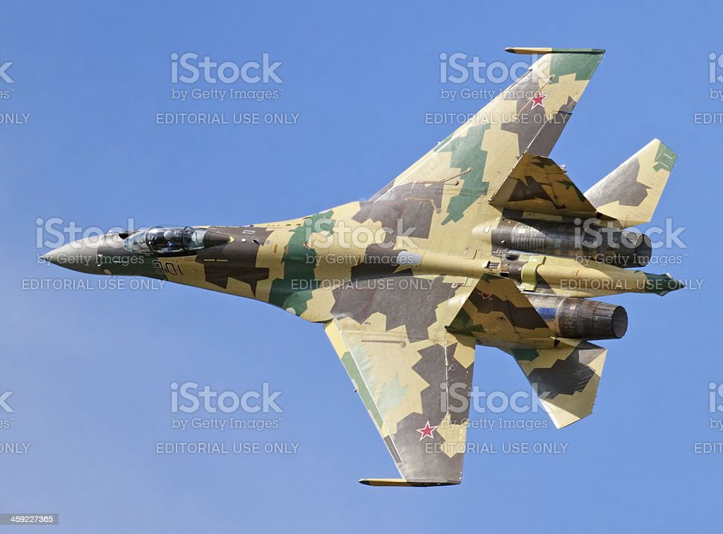 Flying Su-35 stock photo