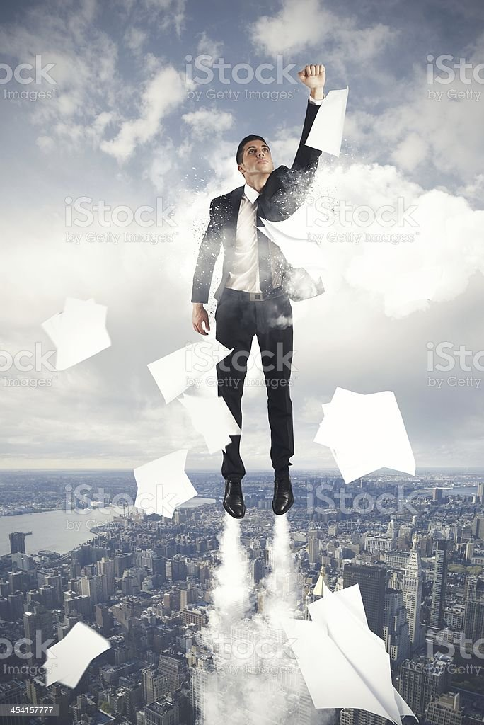 Flying Super hero businessman royalty-free stock photo