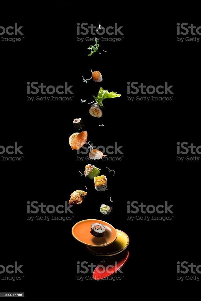 Flying sushi stock photo