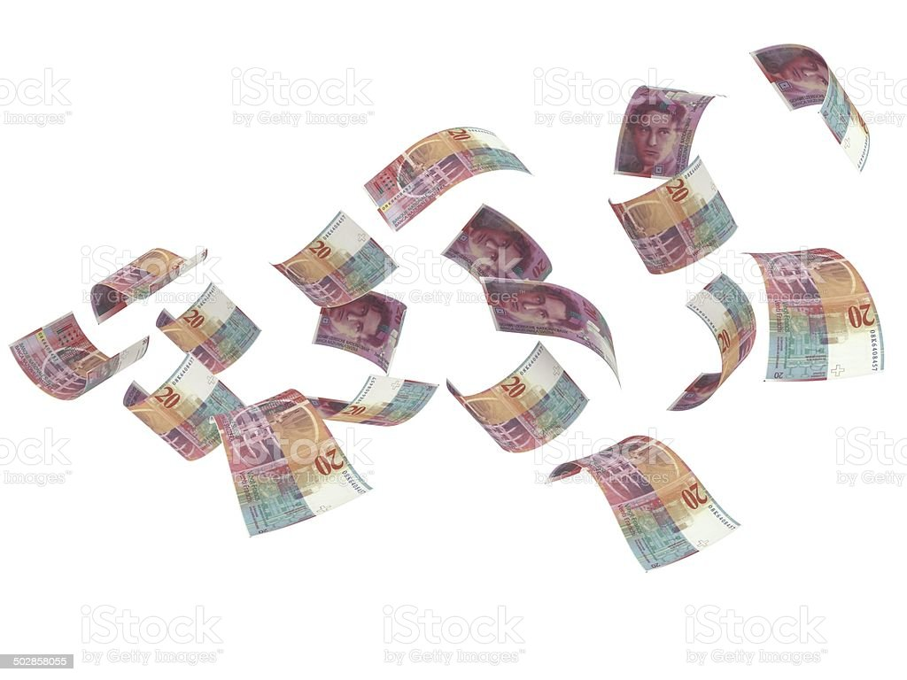 Flying Swiss Francs stock photo