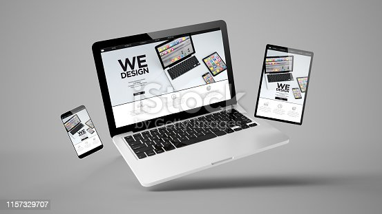 istock flying tablet, laptop and mobile phone showing mobile design website 1157329707