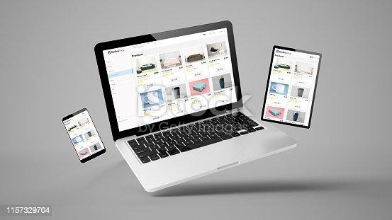 flying laptop, mobile and tablet 3d rendering showing online shop responsive web design