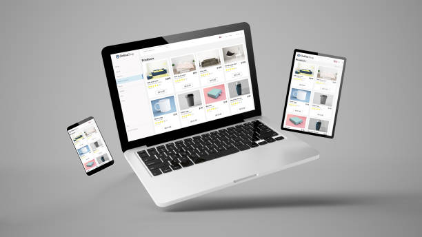 flying tablet, laptop and mobile phone showing online shop website flying laptop, mobile and tablet 3d rendering showing online shop responsive web design desktop pc stock pictures, royalty-free photos & images