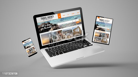 istock flying tablet, laptop and mobile phone showing travel agency responsive web design 1157329706