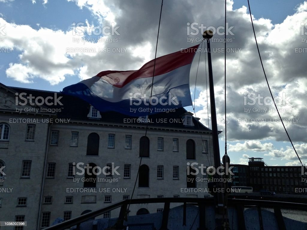 Flying the Flag - Amsterdam Harbour stock photo