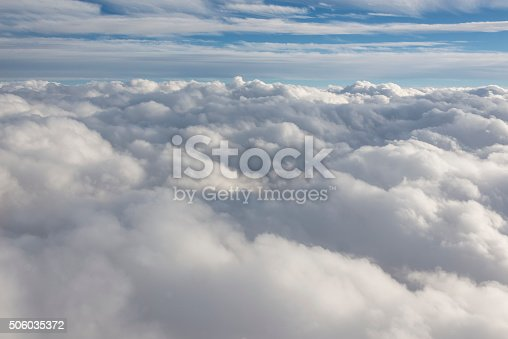 istock Flying through a cloudy sky 506035372