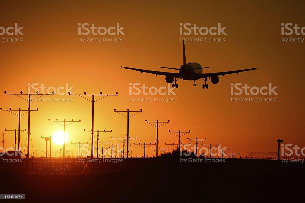 Flying Through Golden Sky stock photo
