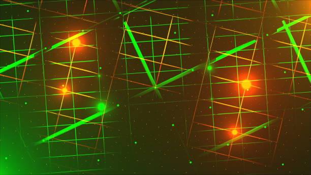 fliegen durch das rechenzentrum, effekt von neon-und beleuchtung, 3d-rendering-computer generated hintergrund - fliegengittertüre stock-fotos und bilder