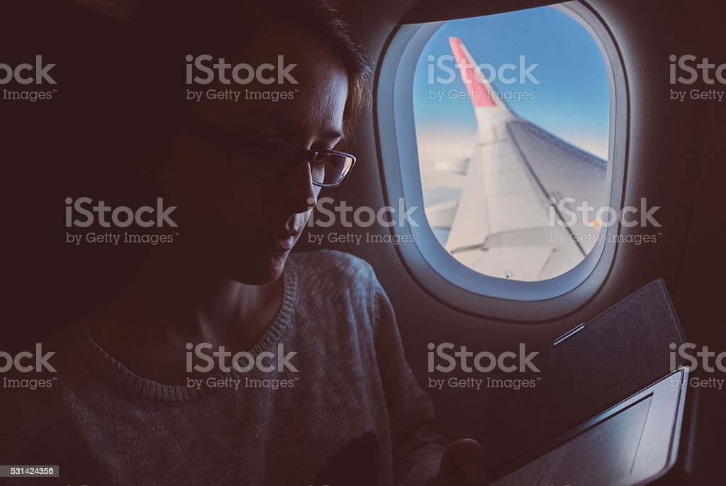 Flying to Paris stock photo