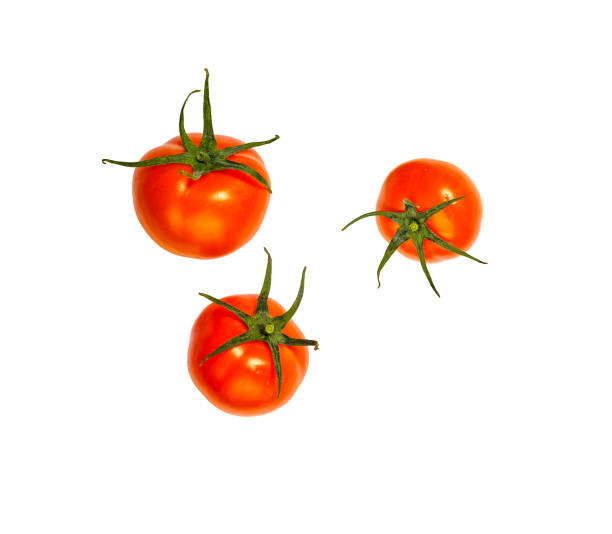 Flying, tomato, isolated, vegetables, salad, ingredient, white background stock photo