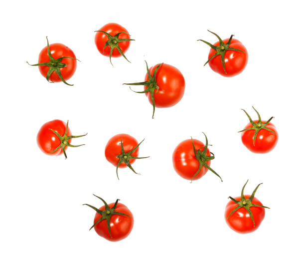 Flying, tomatoes, sauce, ketchup, isolated, white background stock photo