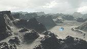 Flying UFO over alien rocky landscape.