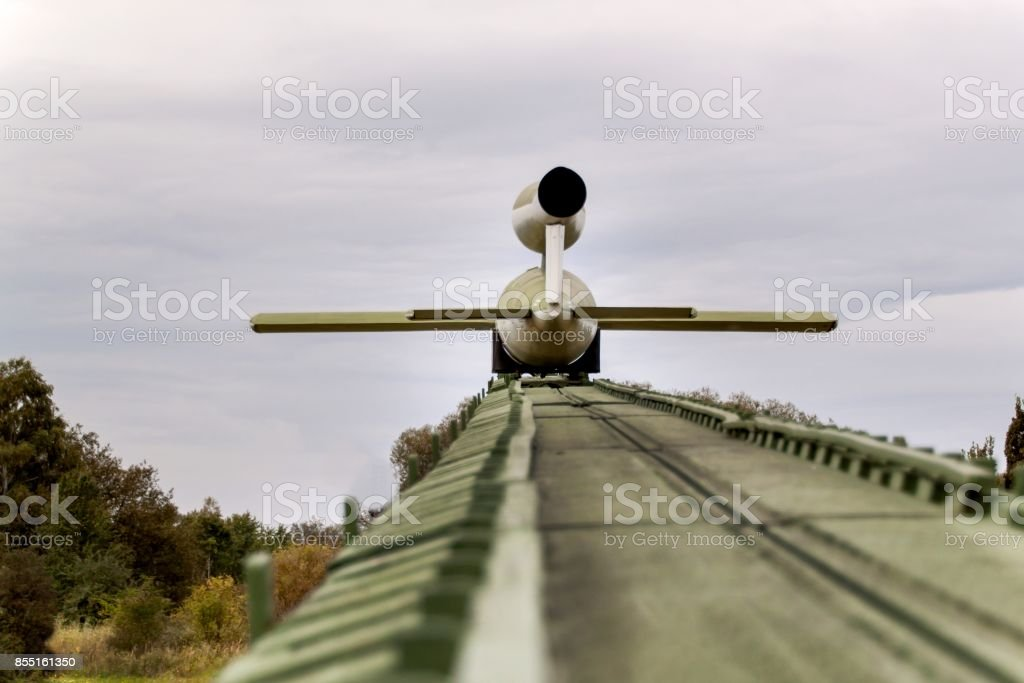 Flying V-1 bomb ready for ramp launch. Rocketry. A deadly gun. stock photo