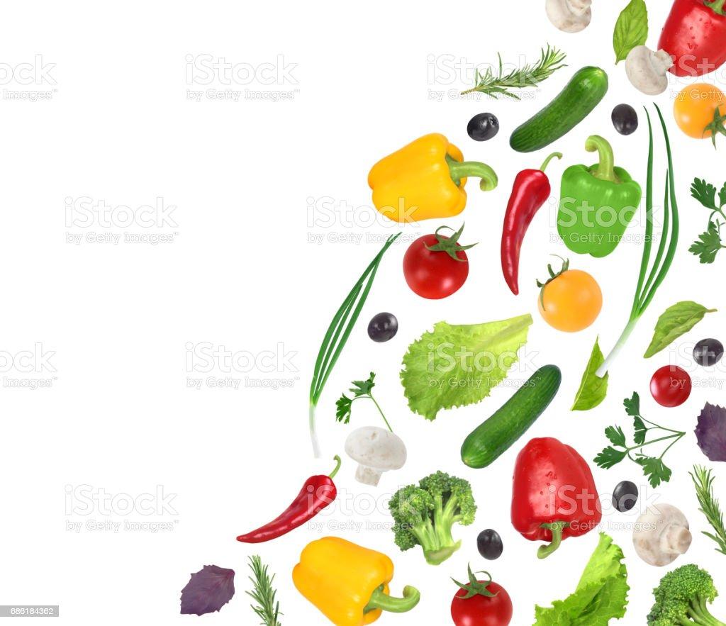flying vegetables isoleted on white background stock photo