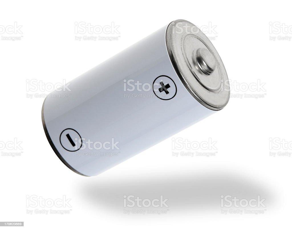 Flying white battery stock photo