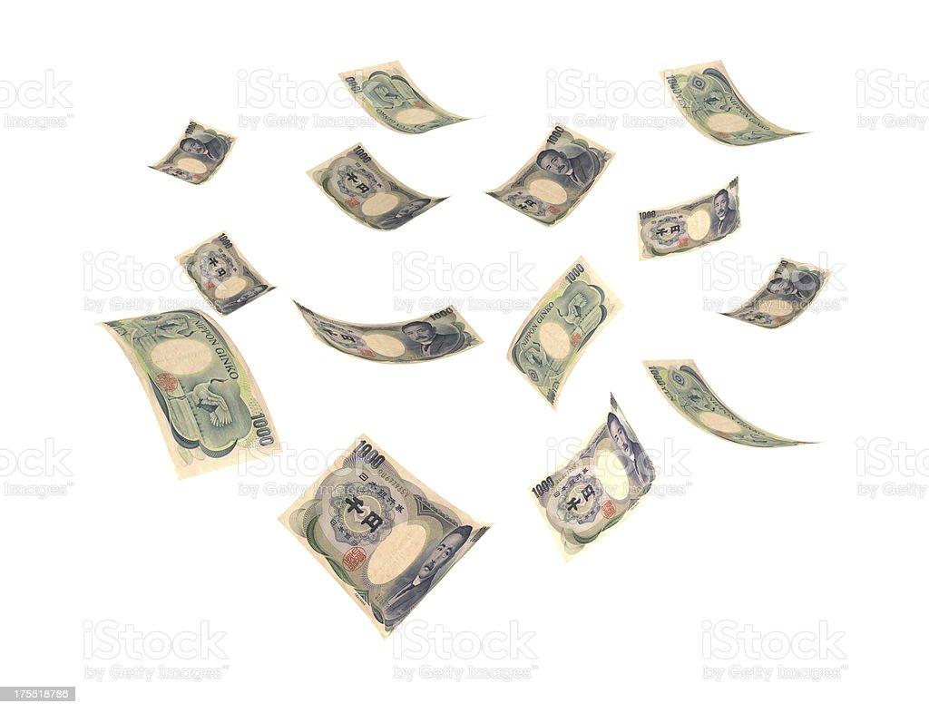 Flying Yen royalty-free stock photo