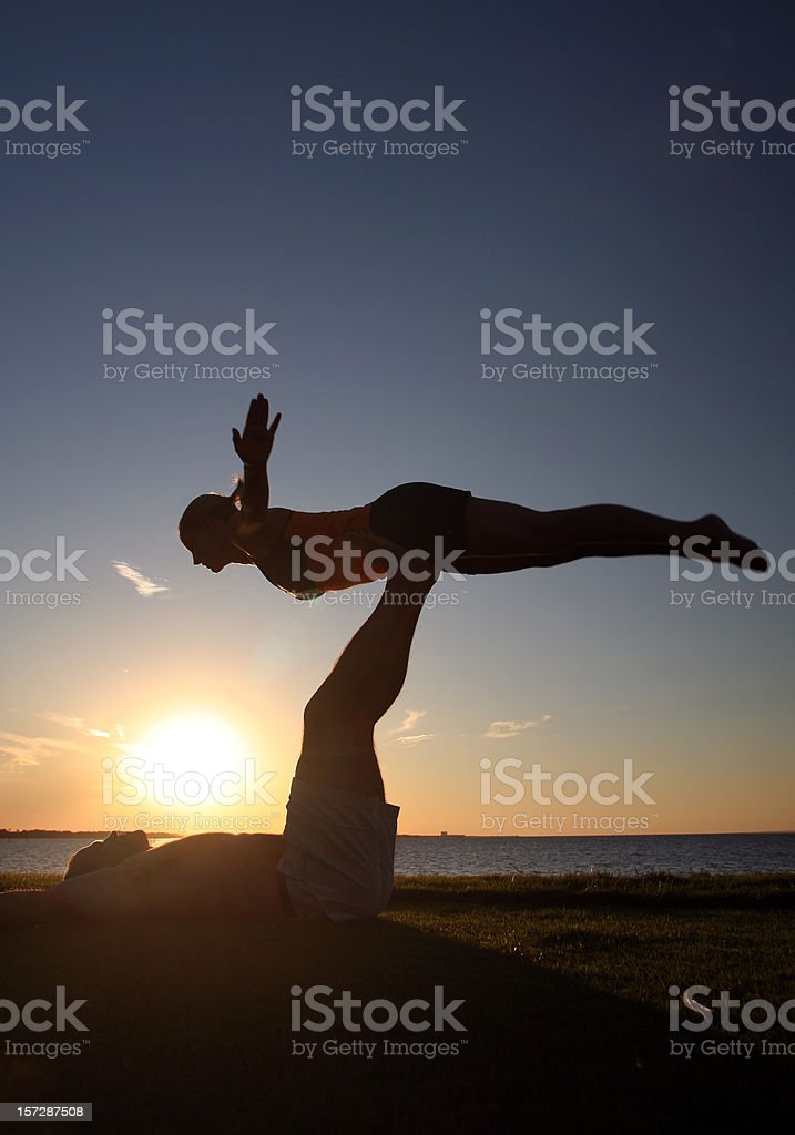 Flying Yoga Pose royalty-free stock photo
