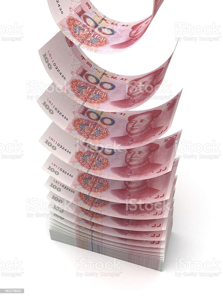 Flying Yuan stock photo